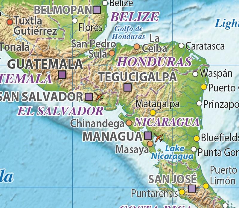 C America Relief maps