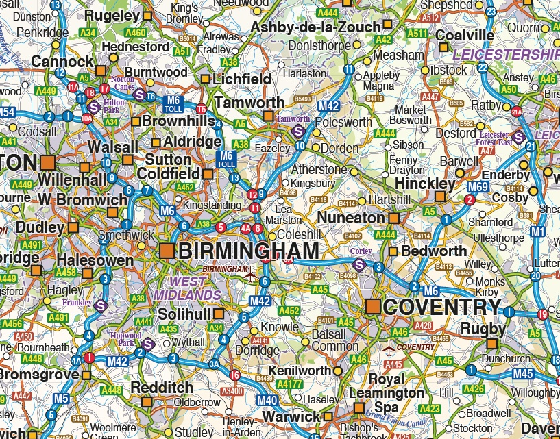 Map Of Uk Midlands.Digital Vector England Maps Central Midlands Region Political And