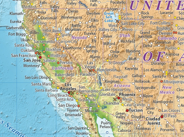 N America Relief maps