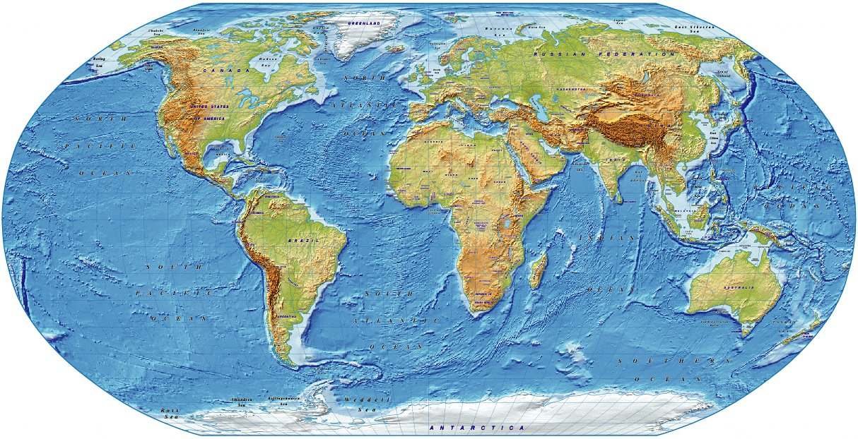 digital vector  royalty free  world relief map in the robinson projection  medium colour  uk
