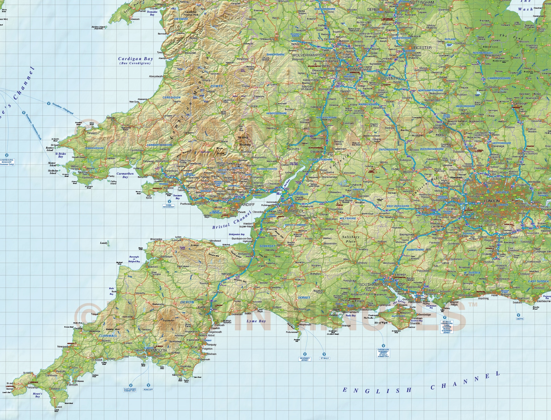 British Isles: British Isles 1st Level Road & Rail Map @1m Scale With