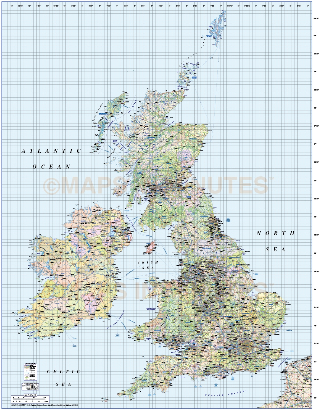 british isles UK county road and rail map 1m scale in – Map Uk Roads