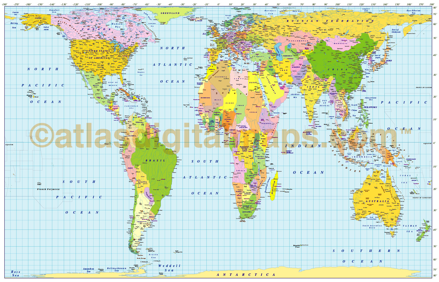 medium scale digital vector world map in gall orthographic projection illust