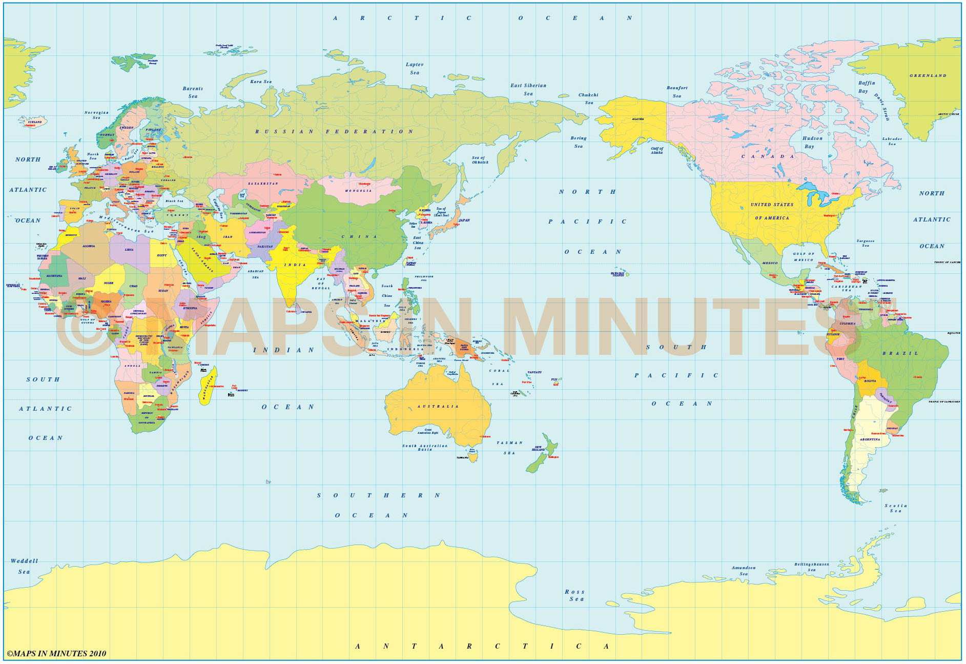 Vector World Political Map In The BSAM Projection Japan - World map with latitude and longitude pdf