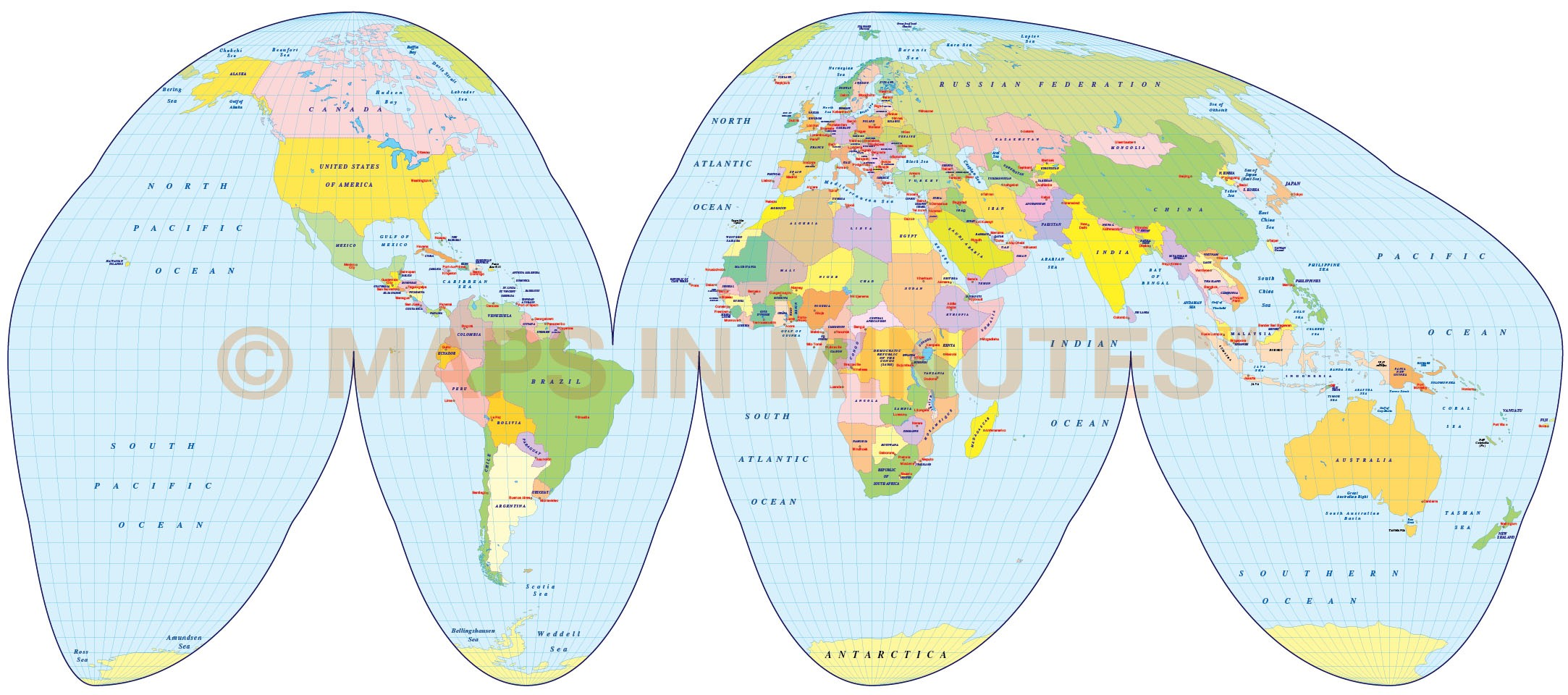 Vector World Map Goode Homolosine Projection Political World map small scale