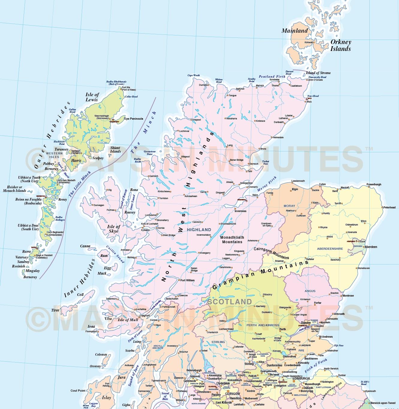 Footiemapcom - Scotland Detailed Street Map Adm British İsles