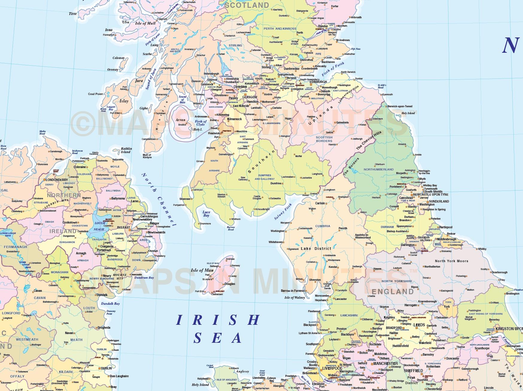 Adm British Isles County Region Admin Map 1 5m Scale Transverse