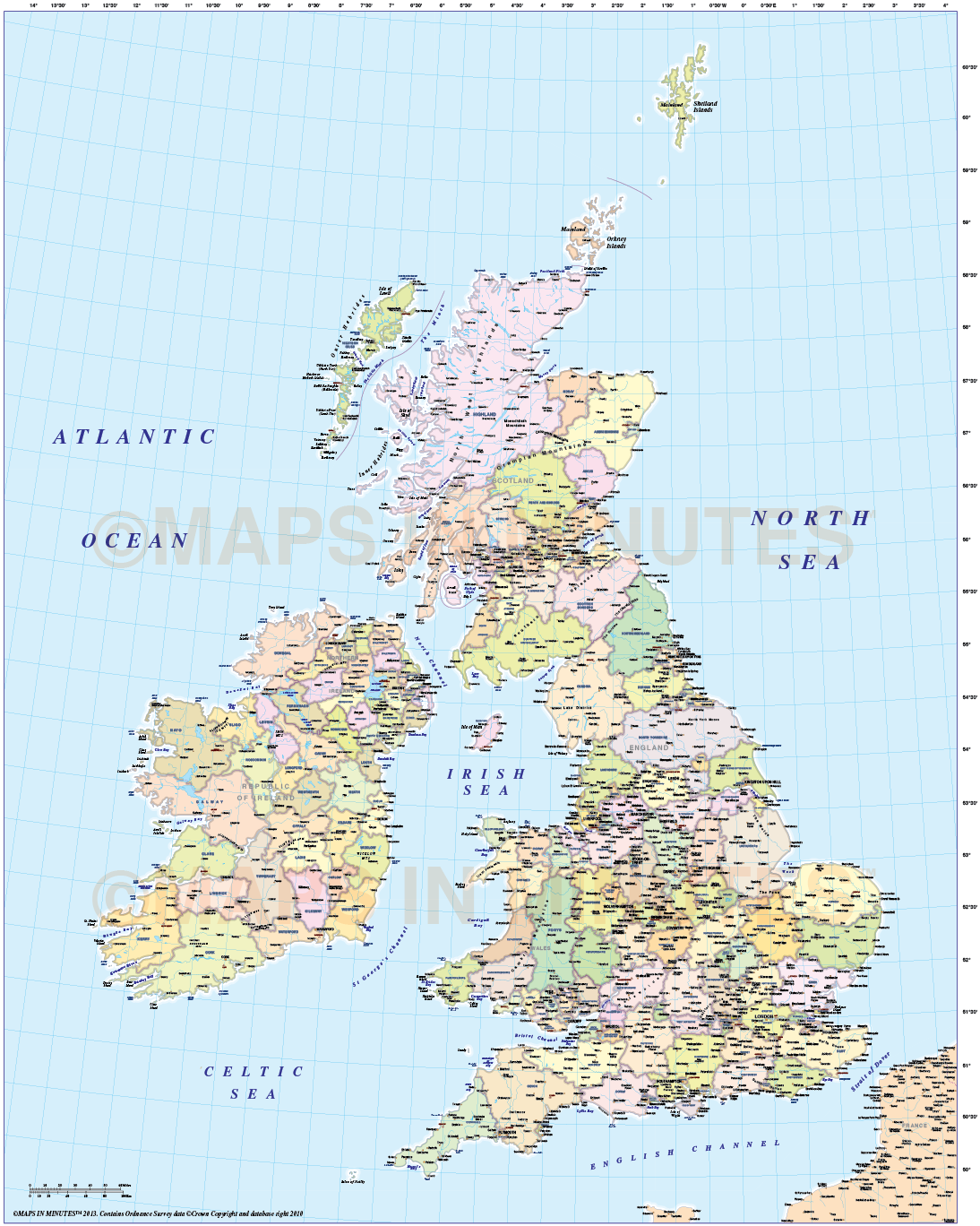 County Map Of England 2016.Adm British Isles County Region Admin Map 1 5m Scale Transverse