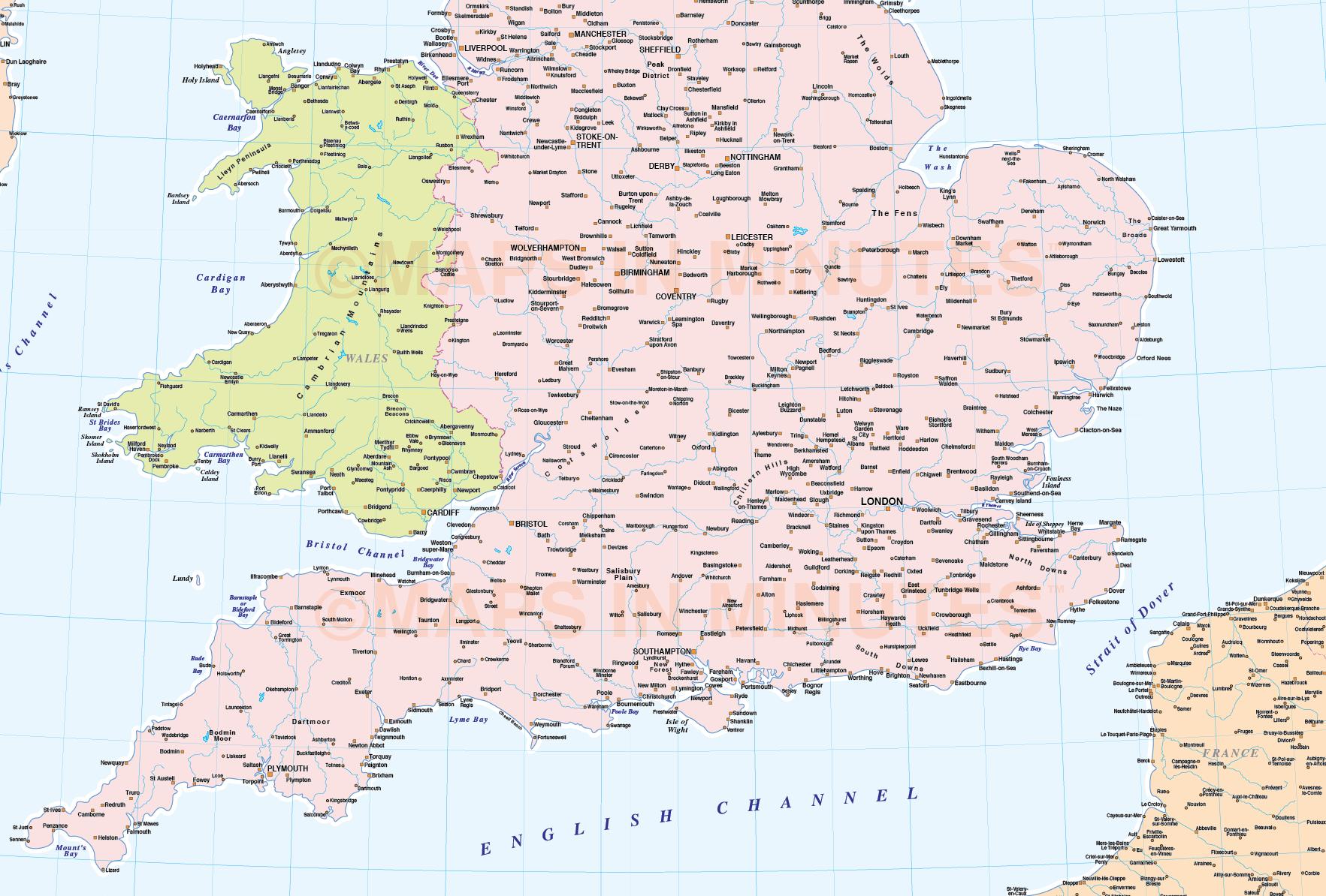 pdf map of england london map