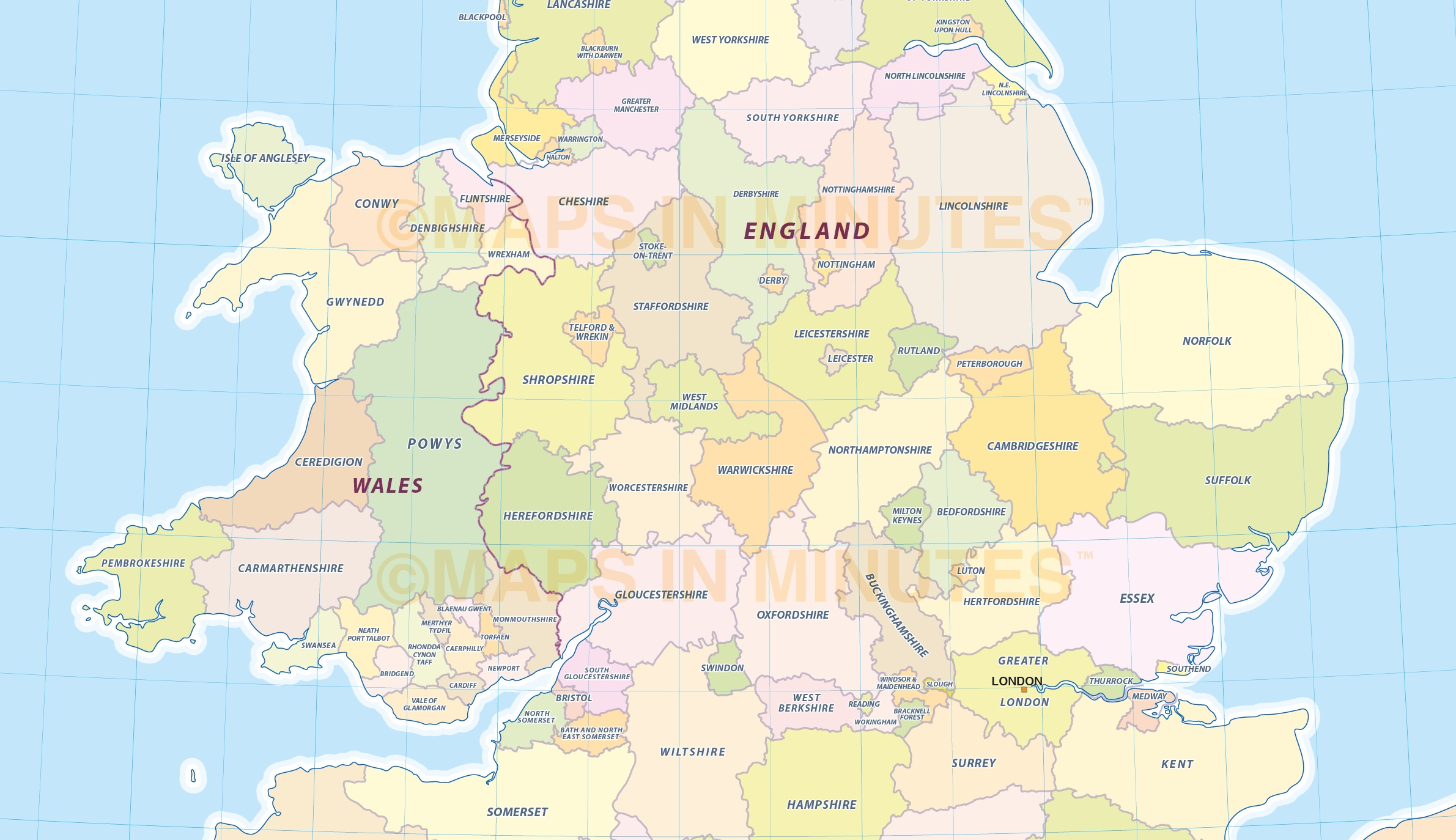 Digital Uk Simple County Administrative Map 5 000 000 Scale