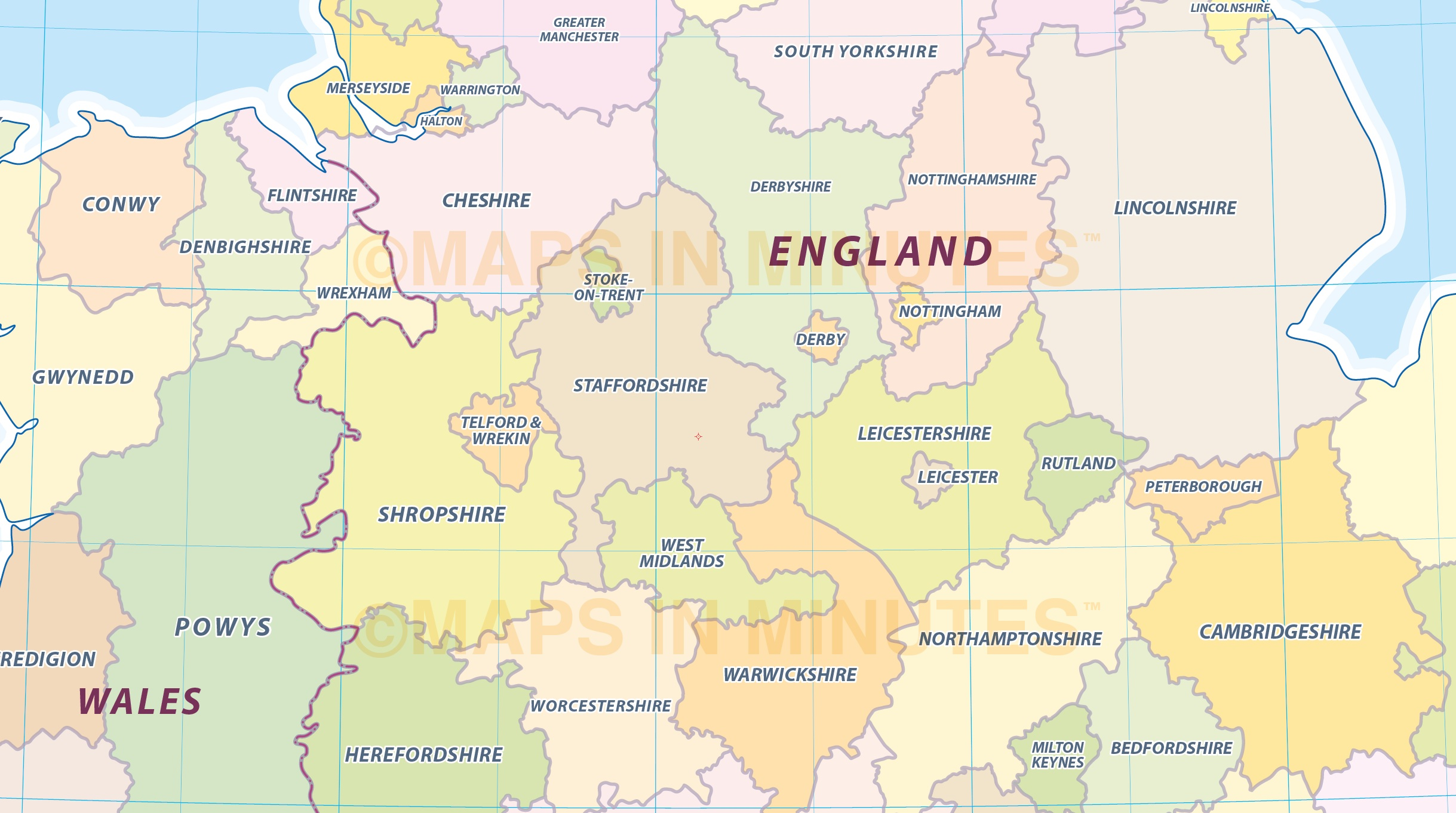 Digital uk simple county administrative map 5000000 scale digital vector uk county administrative map central england detail gumiabroncs Gallery