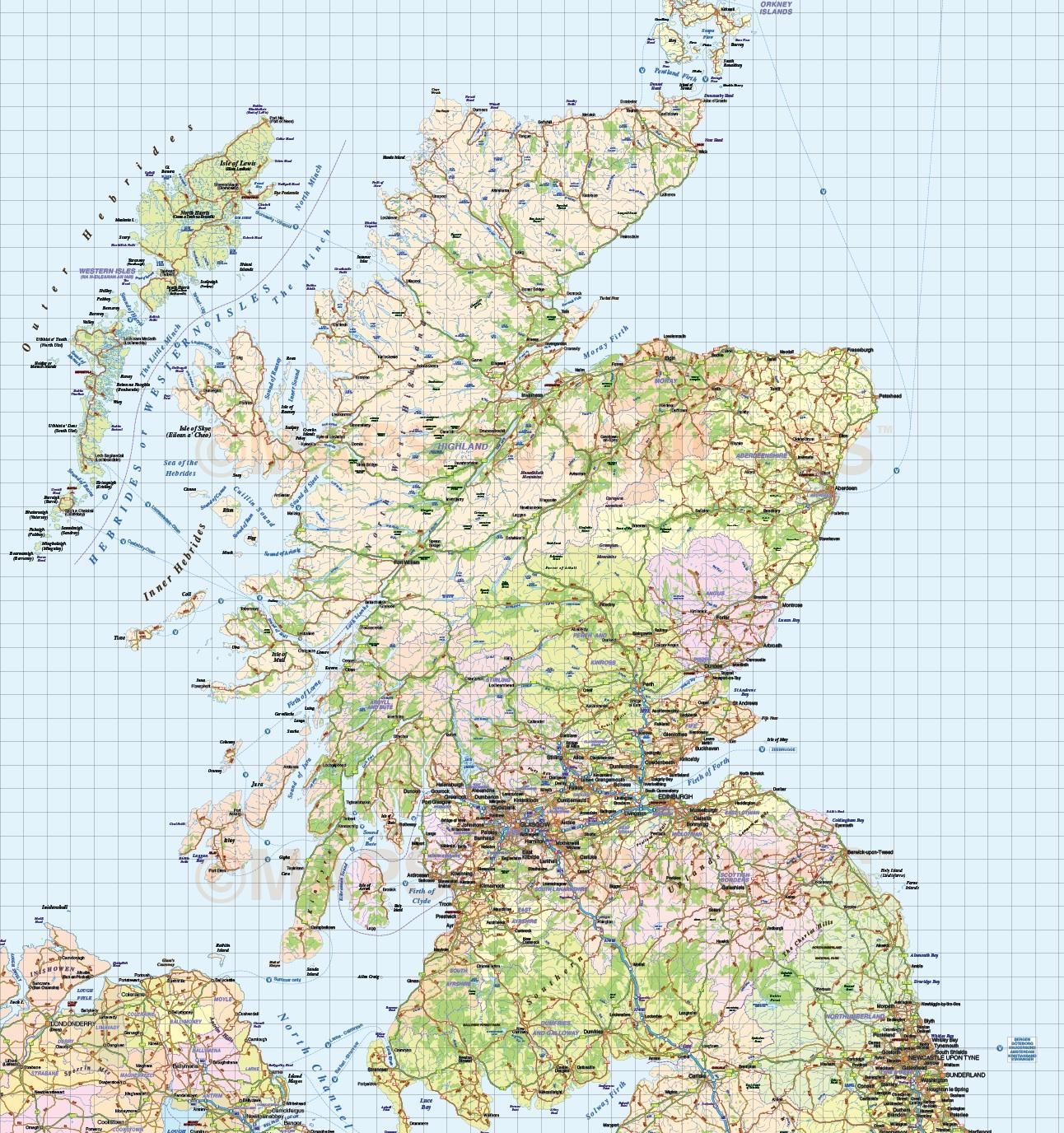 Detailed Road Map Of England.Detailed British Isles Uk Road And Rail Map Illustrator Ai Cs