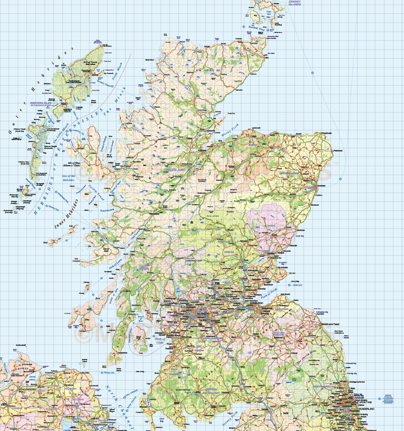 British Isles 1st level Political Road Rail map 750000 scale in