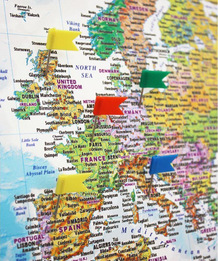Push Pin Travel World Map Canvas Blue Push Pins Standard 90cmx60cm