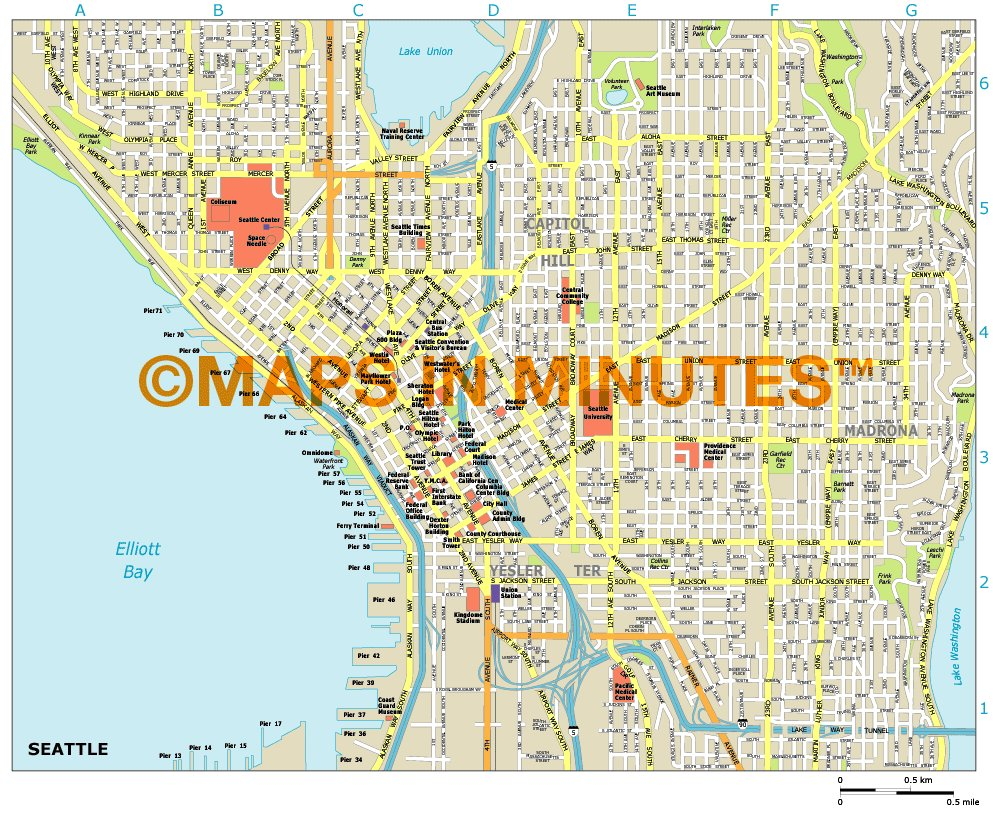 Royalty Free Seattle Illustrator Vector Format City Map