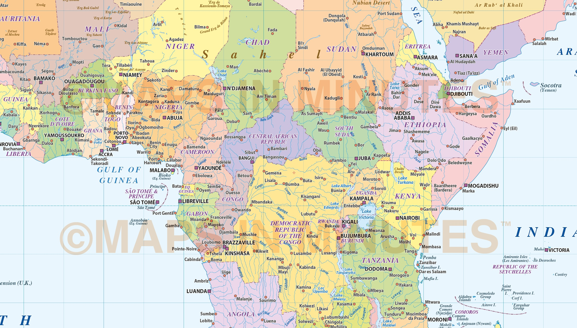 Digital Vector Africa Map Basic Political Style In Illustrator And - Africa map pdf