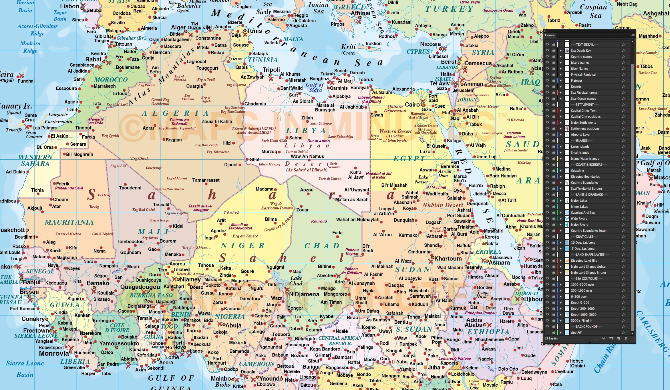 Digital Vector Map Of Africa Region Political With Ocean Contours - Wad madani map