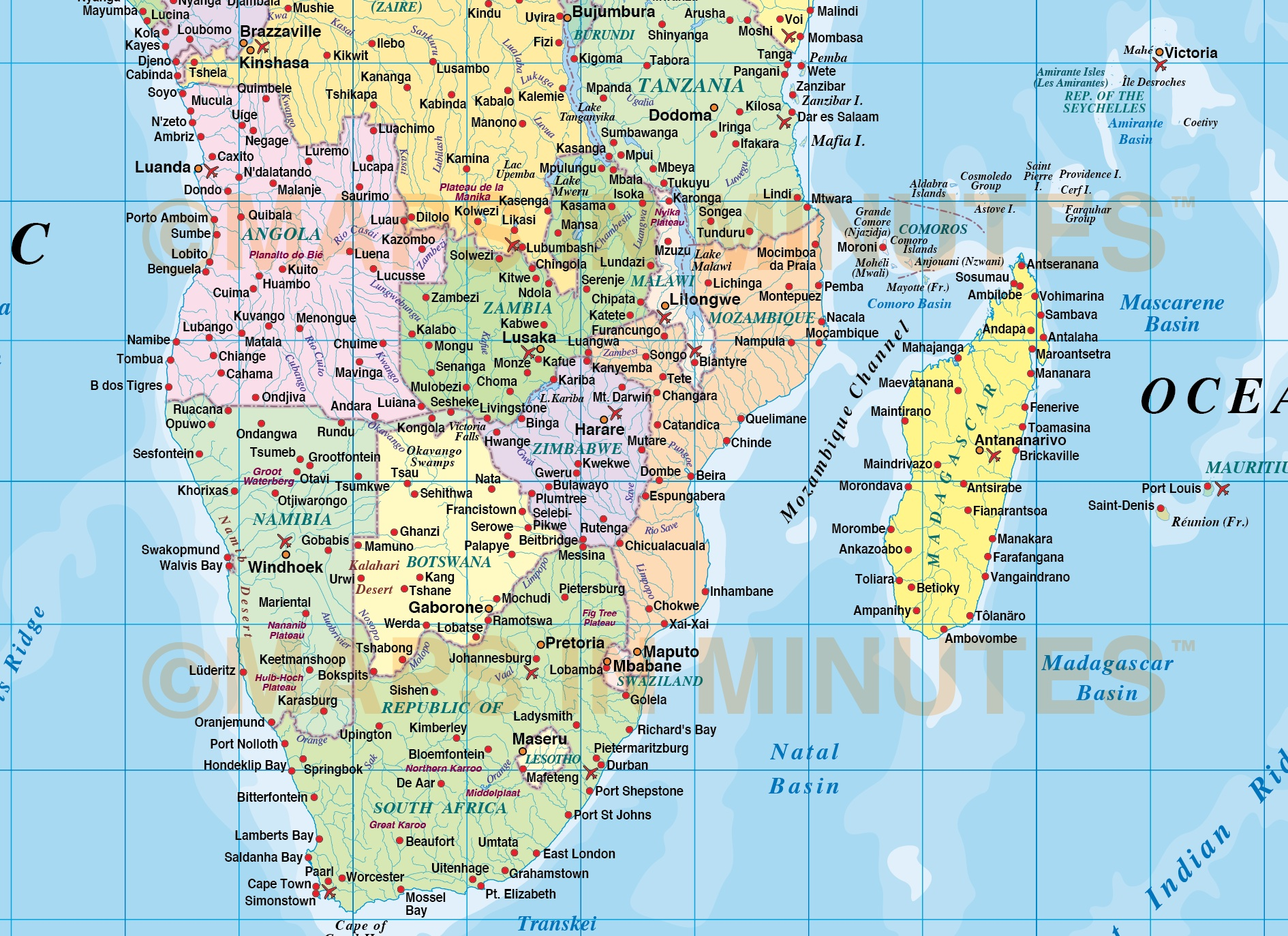 Digital vector map of africa region political with ocean contours africa continent country map with sea contours 10m scale detail gumiabroncs Gallery