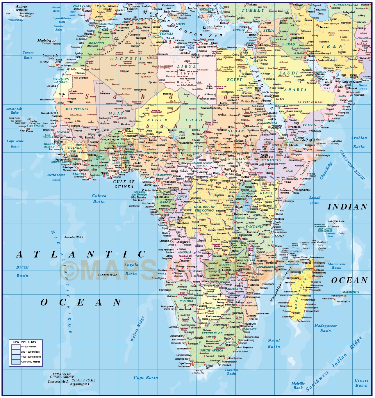 Map Of Africa To Scale.Digital Vector Map Of Africa Region Political With Ocean Contours