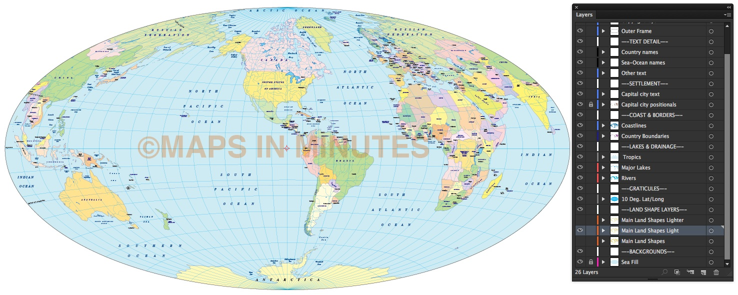 Vector world map aitoff political projection us centric in vector world map aitoff projection 100m scale us centric light colour gumiabroncs Choice Image