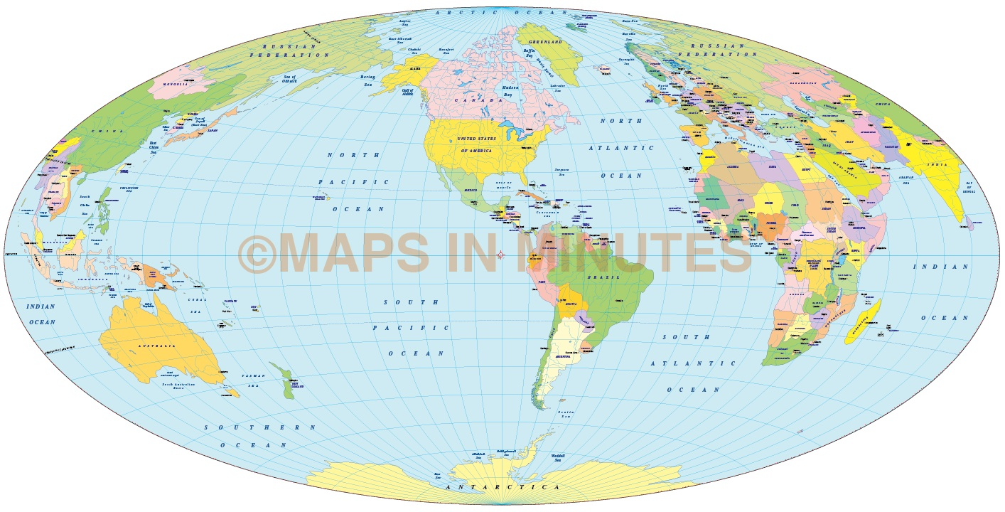 World Map India Centric. Vector World Map  Aitoff projection 100m scale US centric 2 Political in