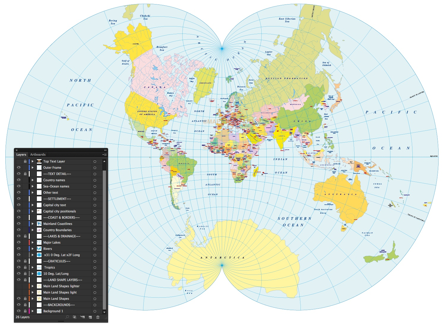 Vector World Political Map in the August Epicycloidal projection