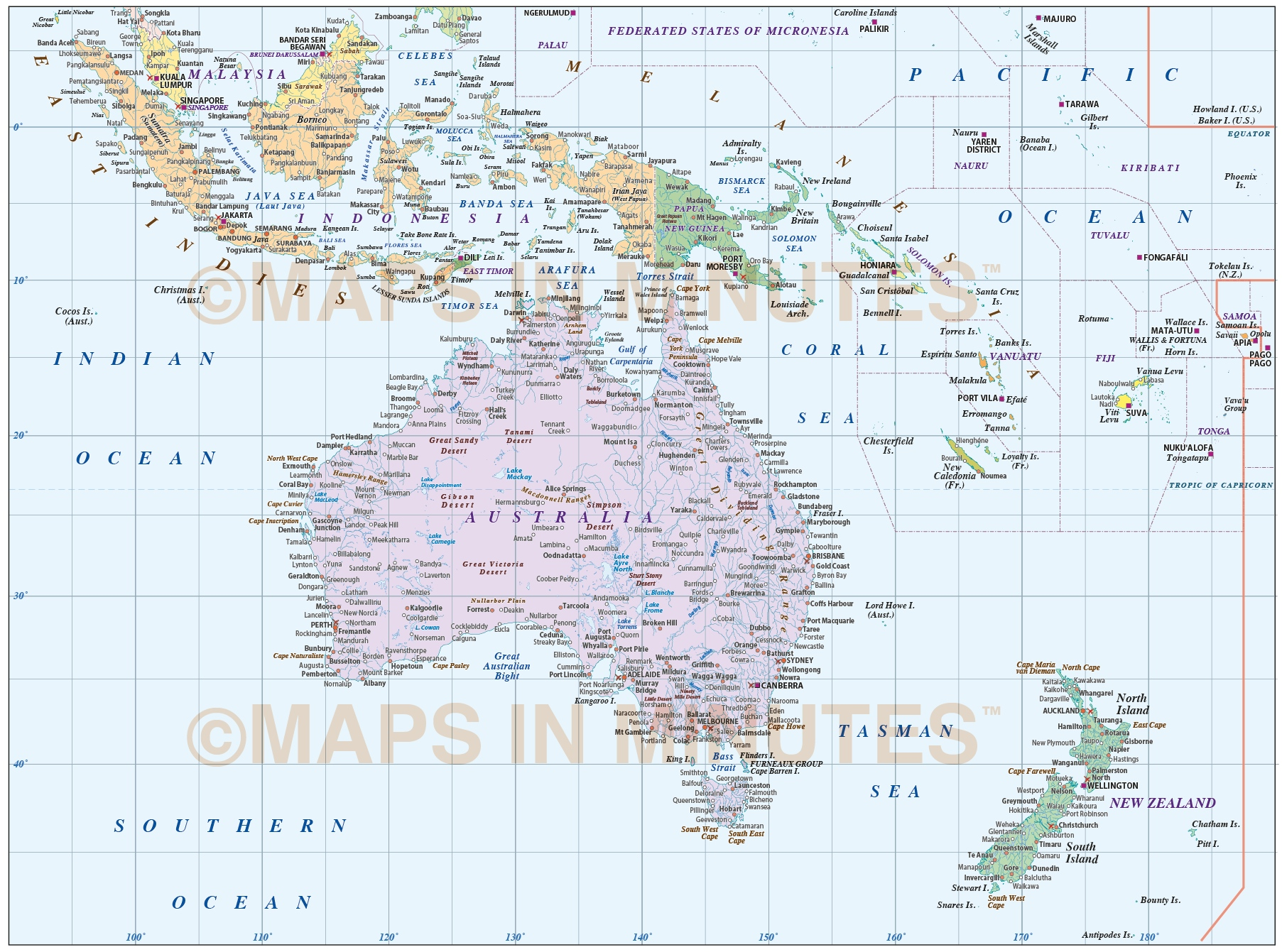Digital Vector Australasia Map Basic Region Country Map M - Basic map of the world