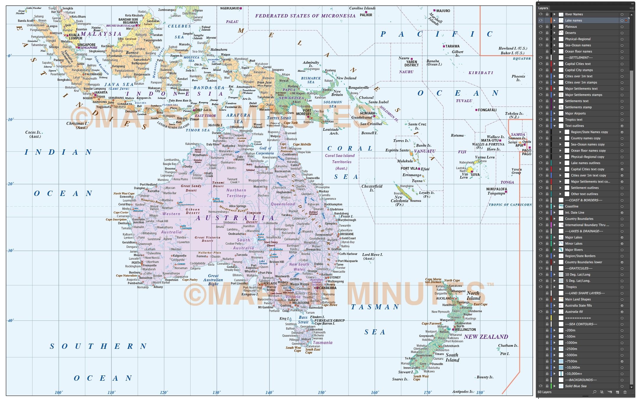 digital vector map of australasia region  political with