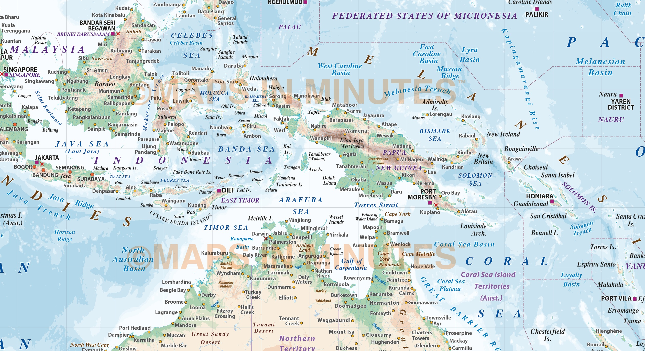 vector map of australasia region  political with land and