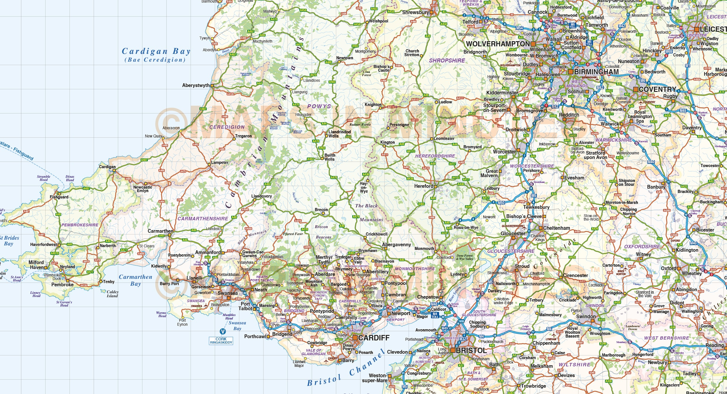 british isles UK county, road and rail map @ 1m scale in Illustrator ...