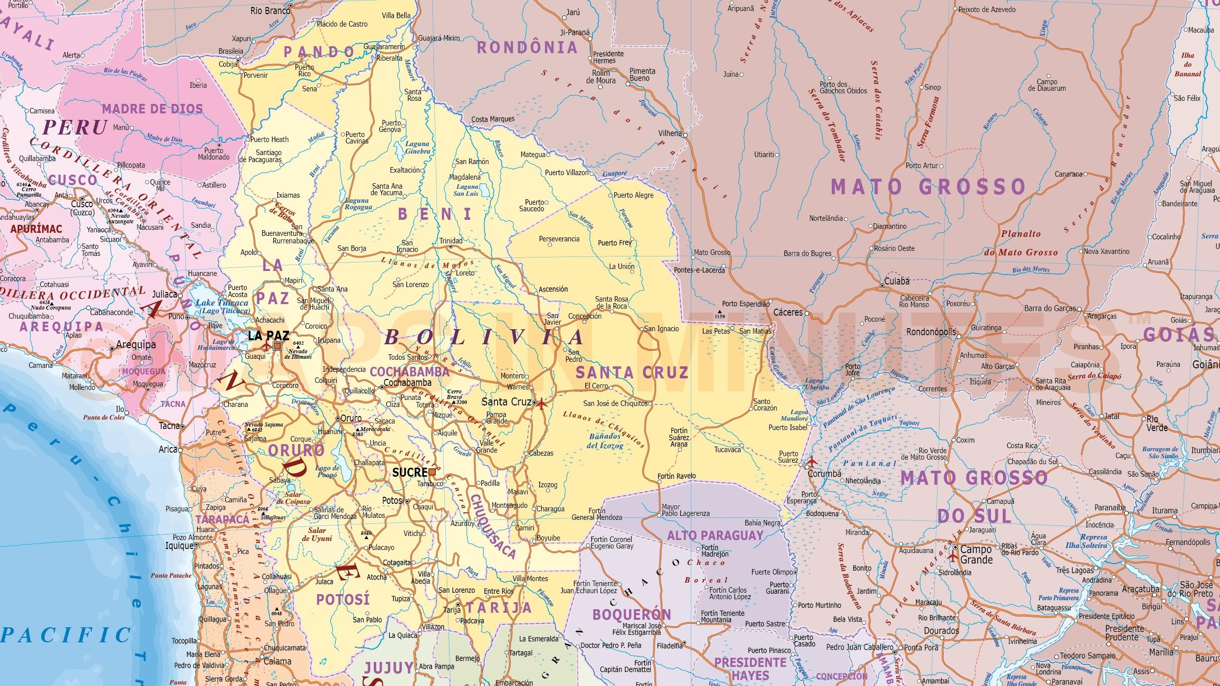 Digital vector Bolivia Paraguay Deluxe Political Road Rail Map