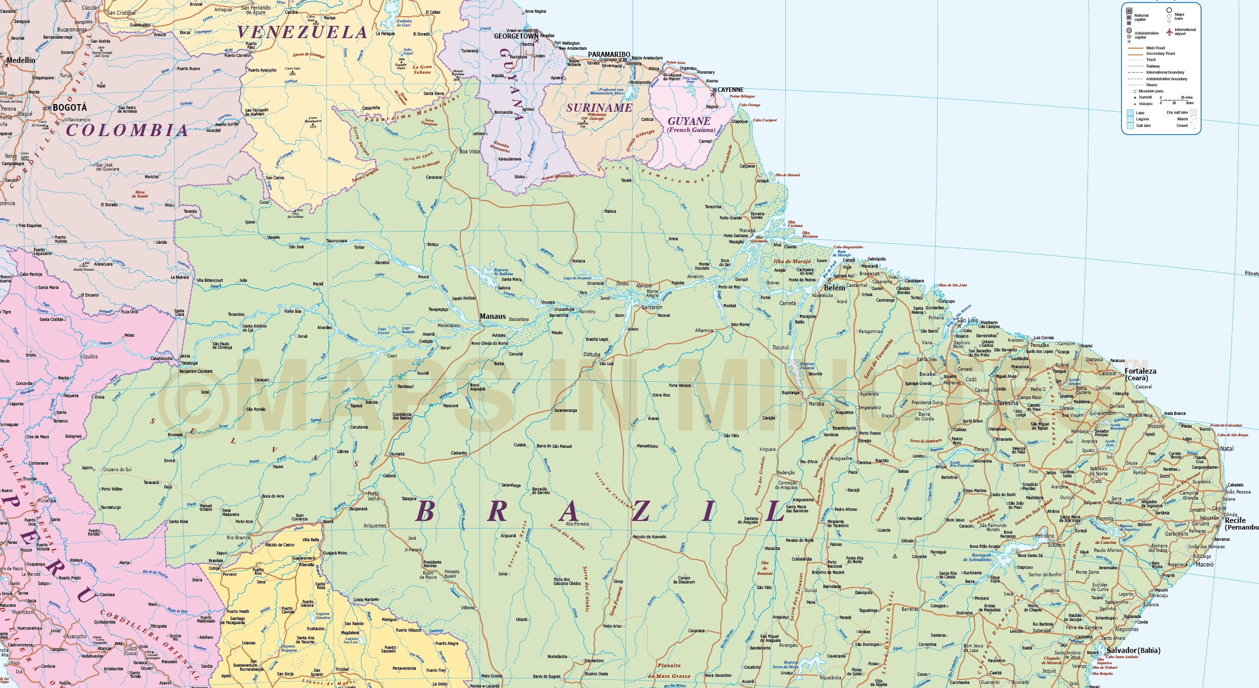 Brazil Deluxe Political Road Rail Map plus land and sea floor