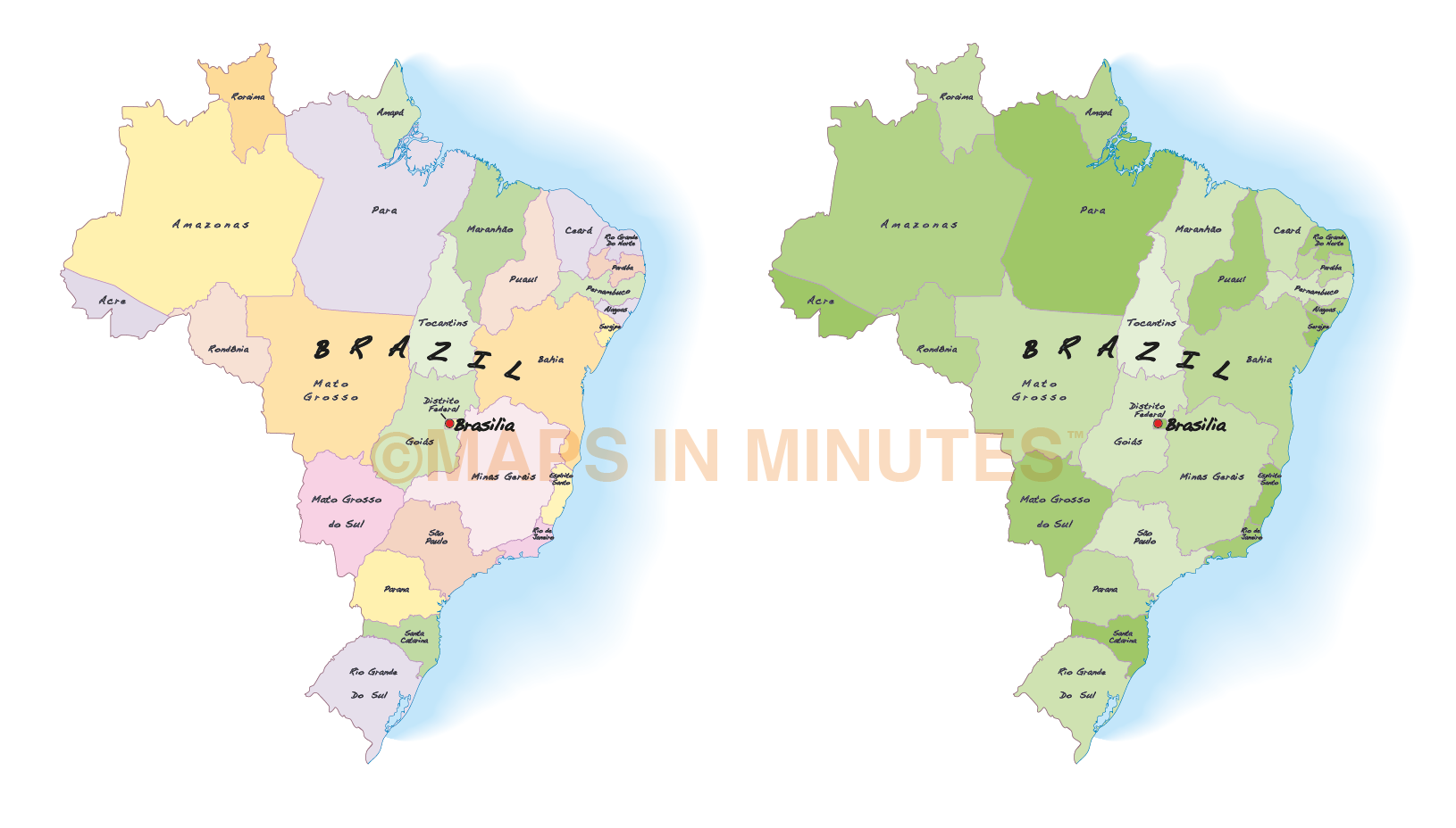 Vector brazil map internal divisions in illustrator format showing multi vector brazil map with first level divisions in illustrator and pdf formats gumiabroncs Images