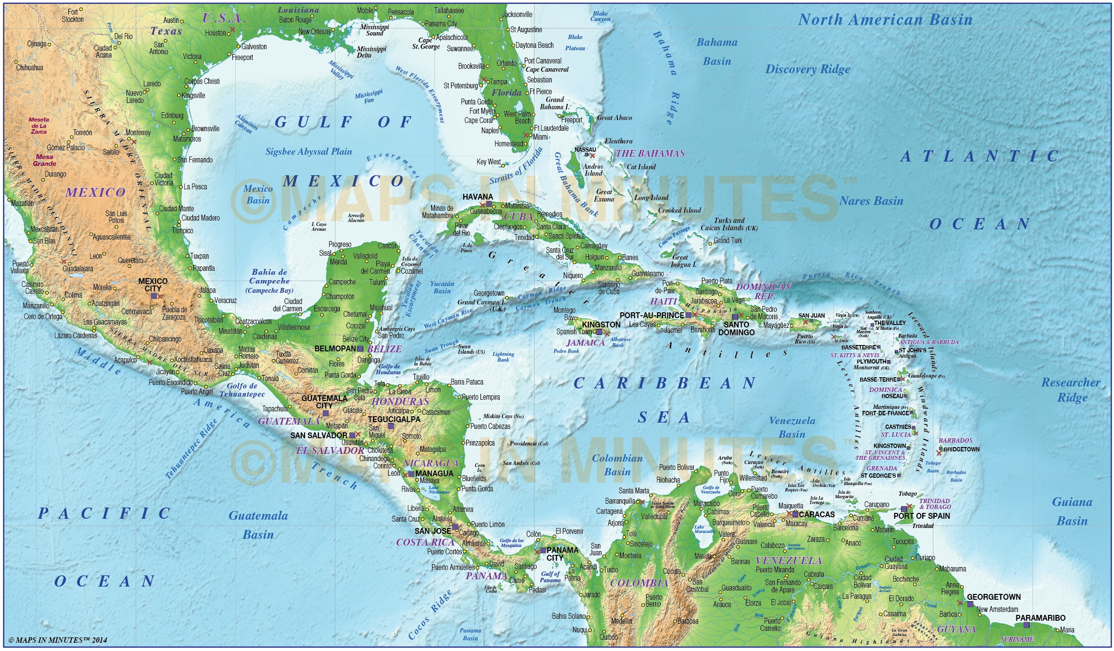 Caribbean Map With Land And Ocean Floor Relief M Scale In - Map of carribean