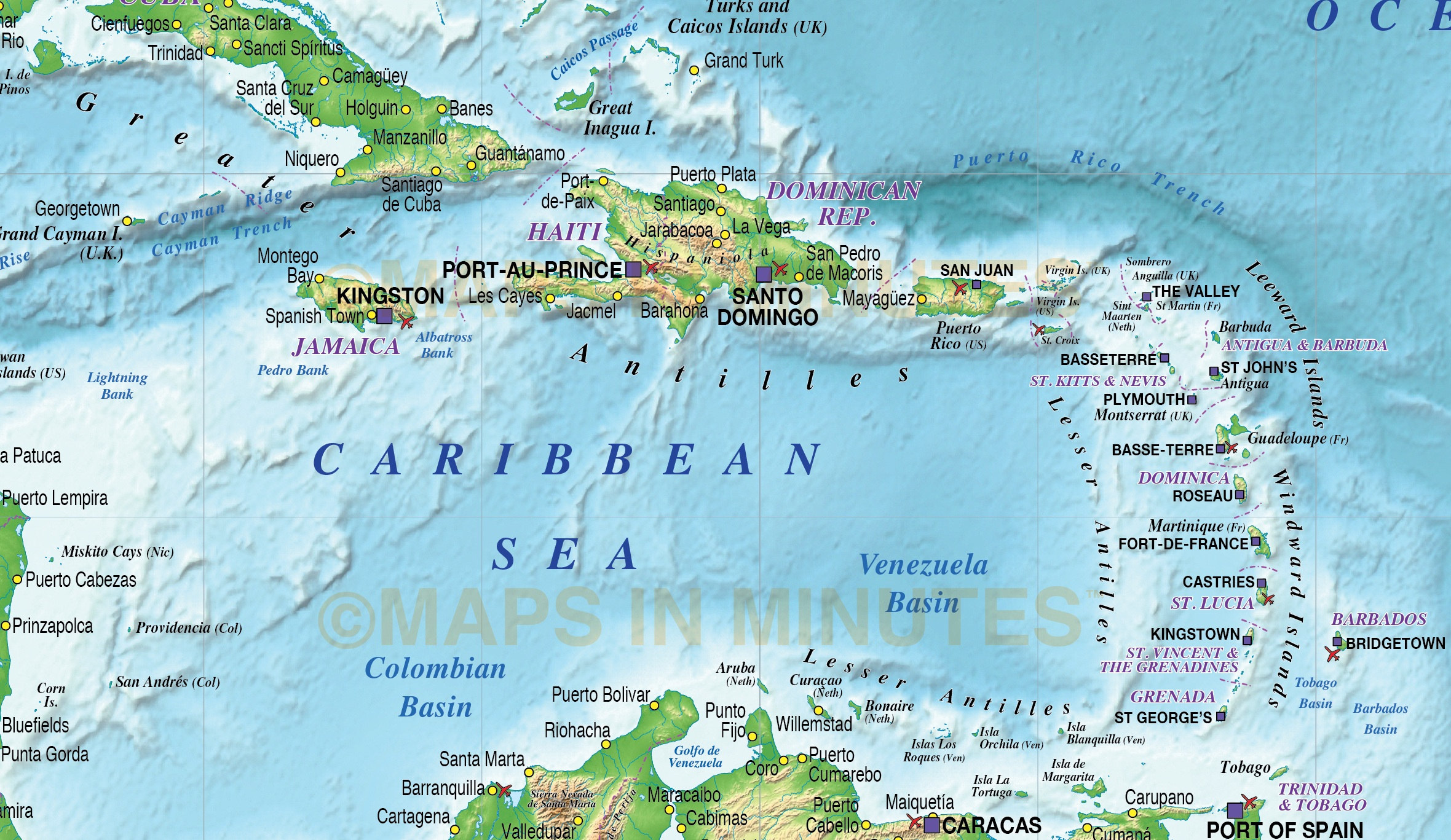 Caribbean Map with Land and Ocean floor relief @10m scale in ...