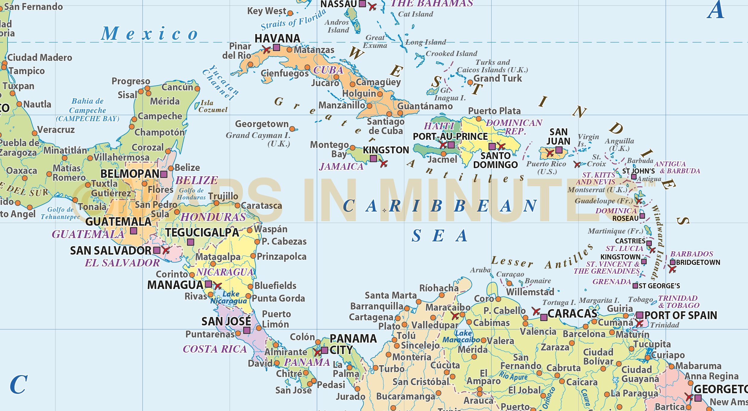 Central America & Caribbean Basic Political Map @10m scale in ...