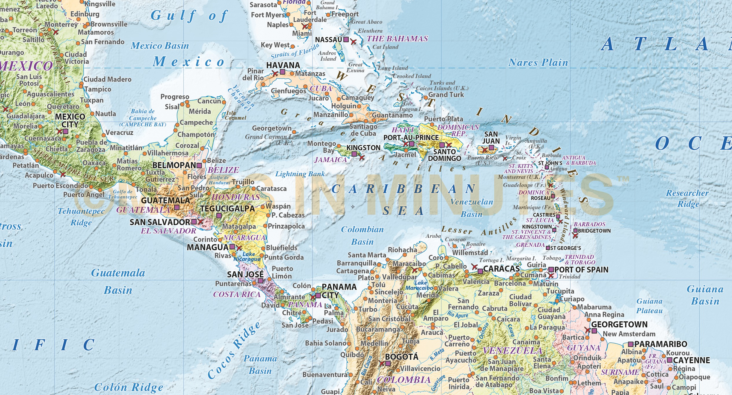 Caribbean/Central America map with Political colour relief ...