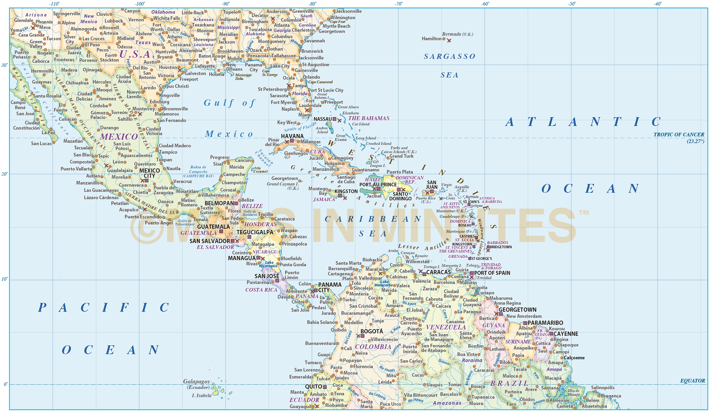 Central america vector map in illustrator and pdf format central america caribbean political map with insets and state fills for usa and brazil in gumiabroncs Gallery