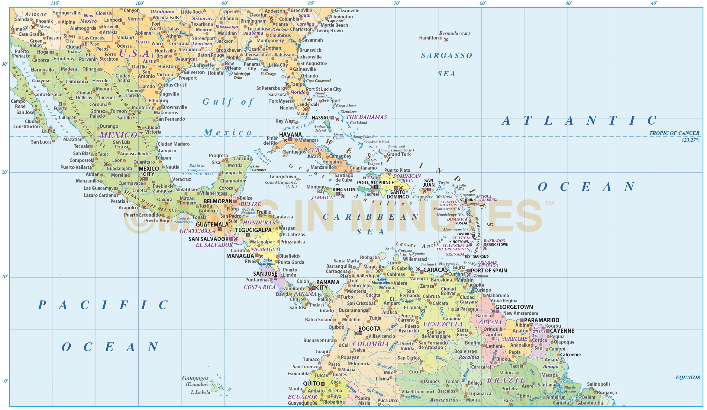 Digital vector Central America Caribbean Political Map 10m