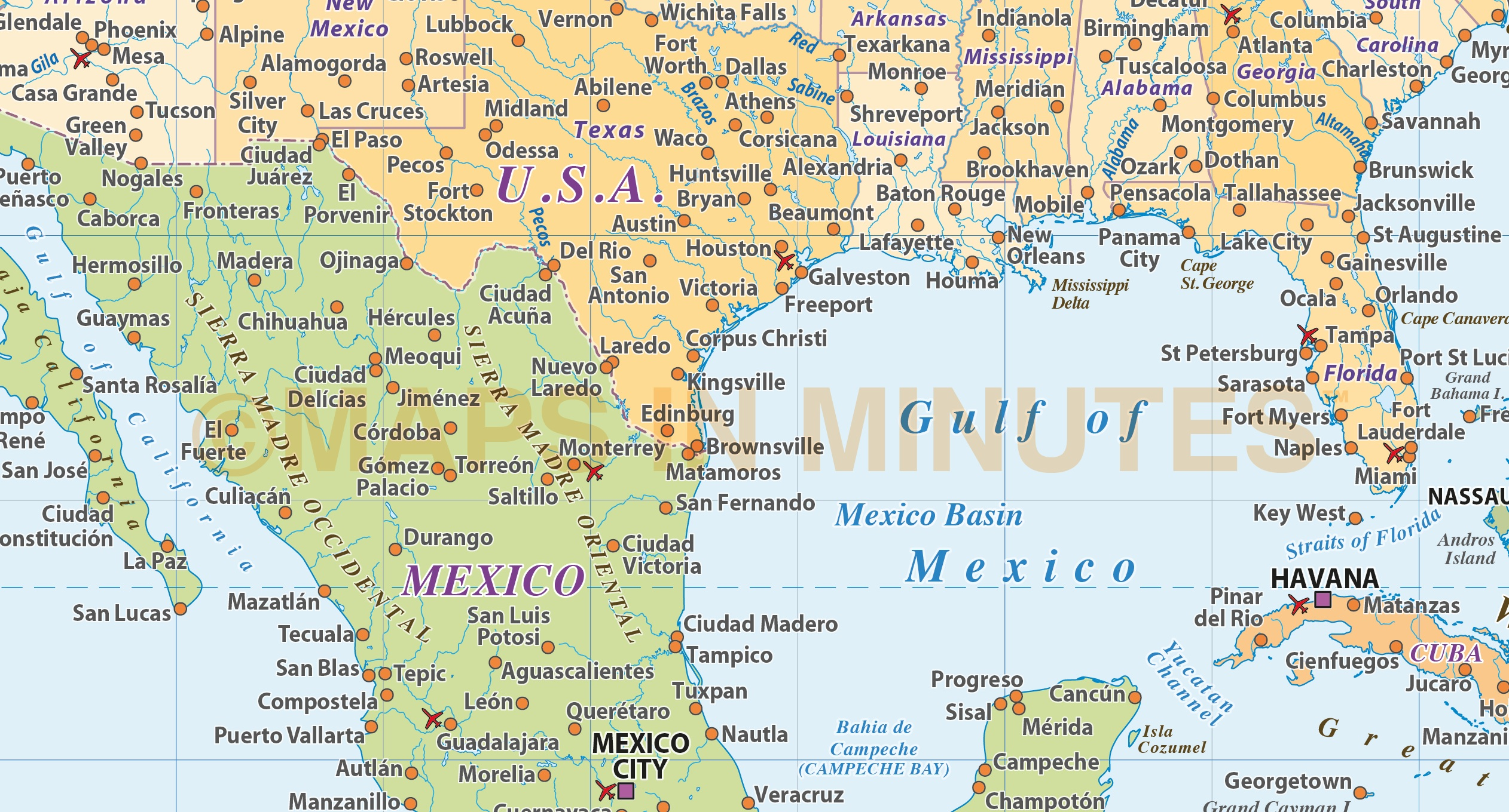 Digital Vector Central America & Caribbean Political Map @10m Scale With Sea Contours In