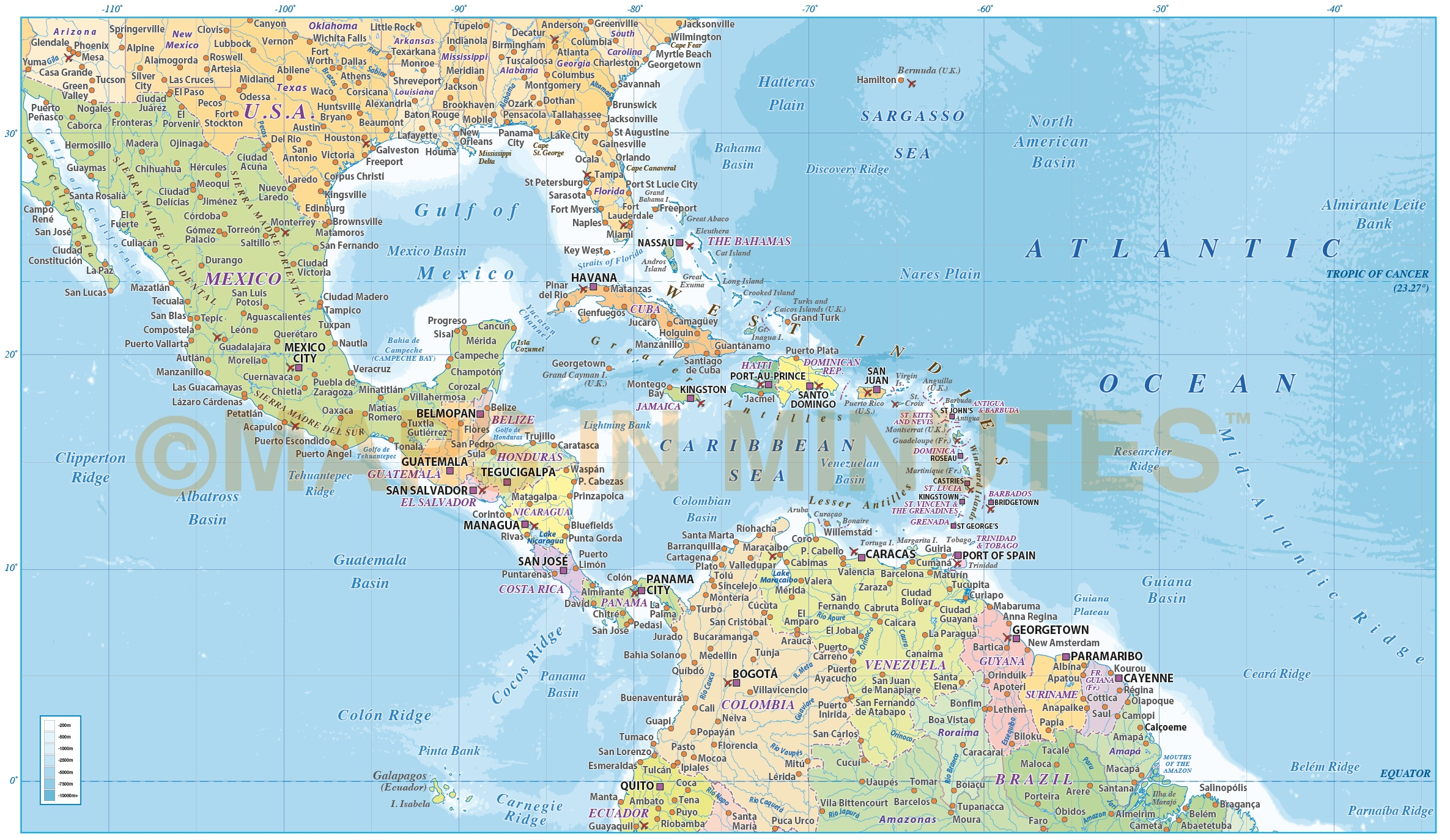 Central America Caribbean Political Map With Ocean Floor Contours In Ilrator Cs And Pdf Formats
