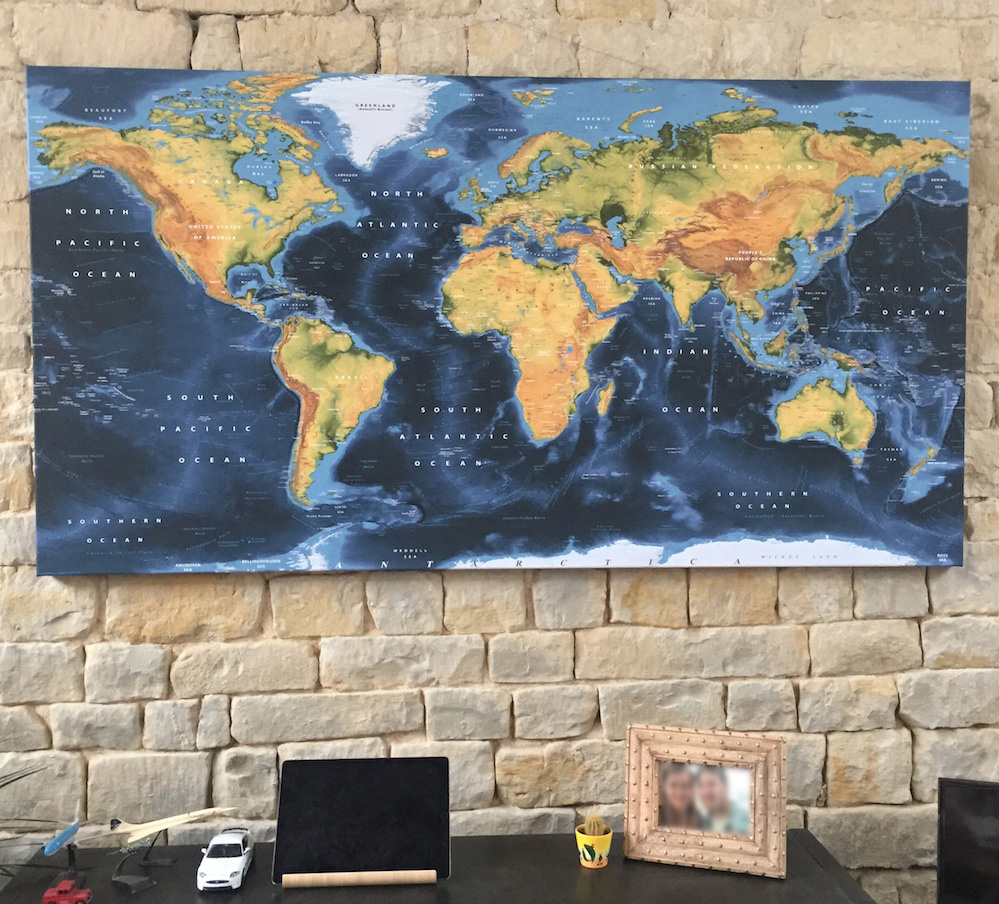 100 giant world map mural blue silver grey world map for Blue world map mural