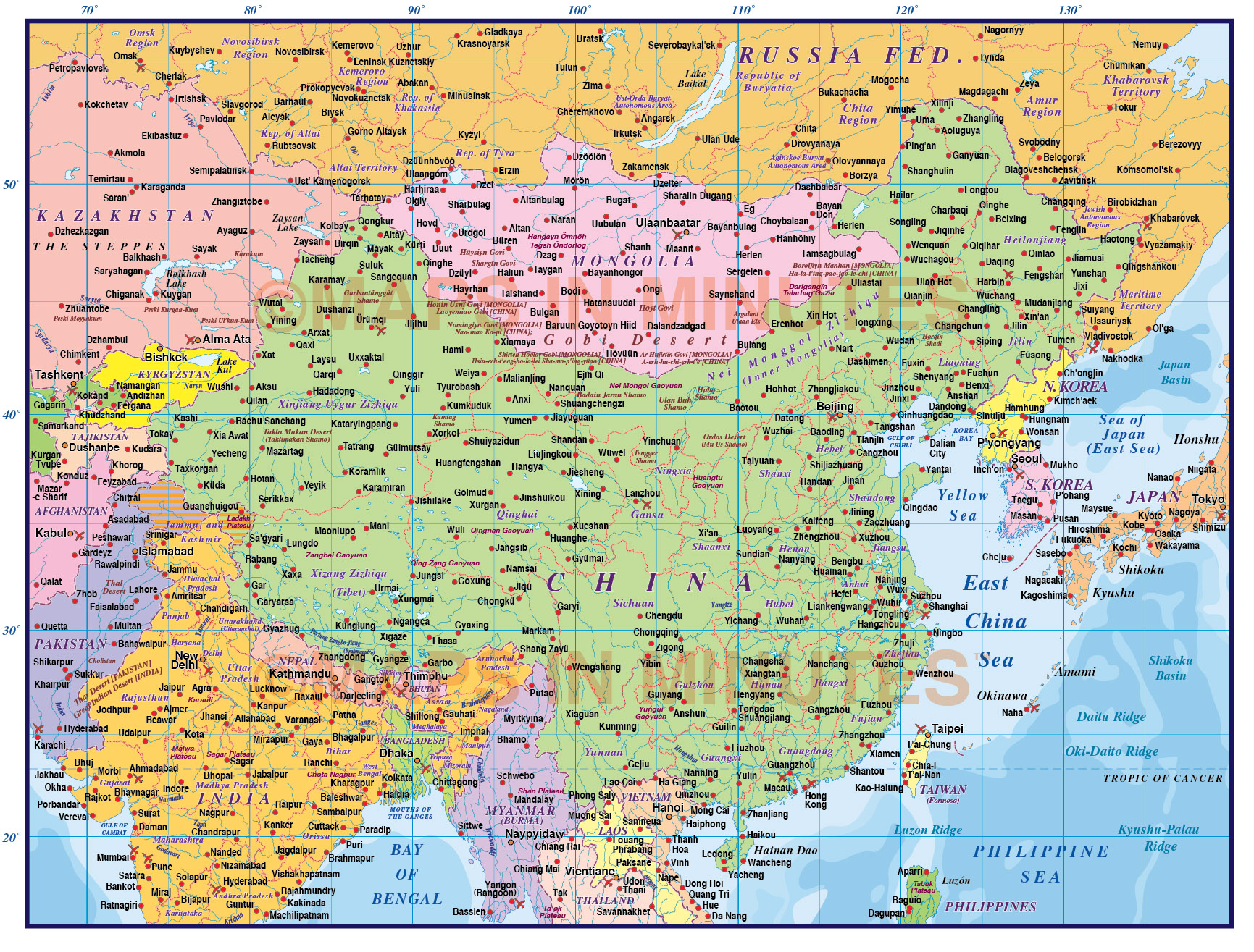 Digital Vector China Political Country Map, First Level @10,000,000 Scale In Illustrator Layered