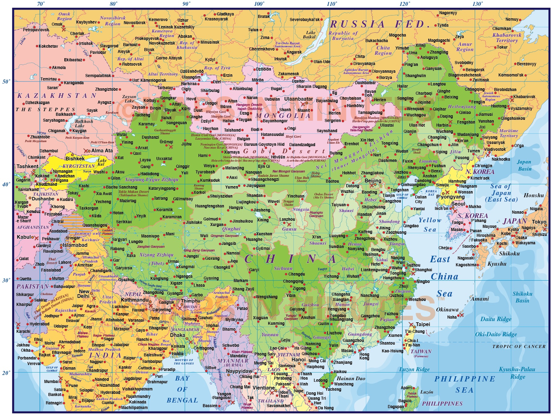 Digital vector china political country map first level digital vector china political country map 10m scale showing first level province fills turned on gumiabroncs Image collections