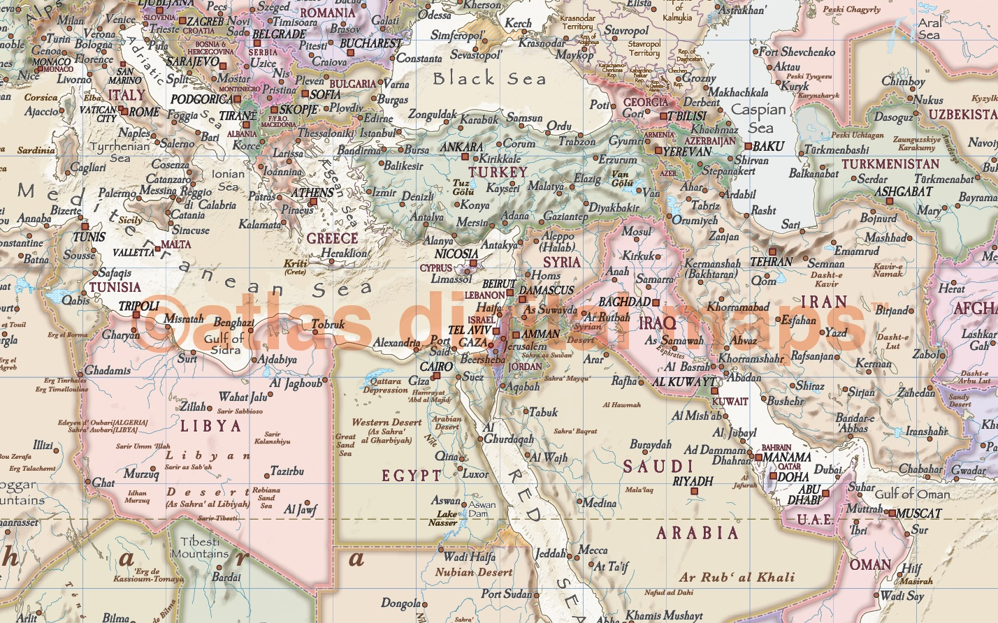 Antique style 2 Political Relief World Wall Map Vinyl 60 x 38