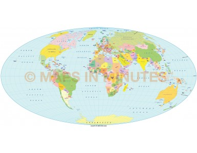 Digital vector World Map, Hammer Projection small scale UK-centric Political