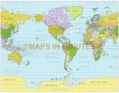 Gall Projection World map (US centric) @ 50M scale