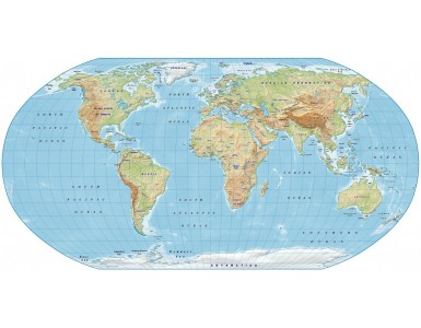 Digital vector World relief Map, Robinson Projection in light colours, UK-centric, Political fills included