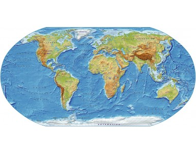 Digital vector World relief Map, Robinson Projection in medium colours, UK-centric, Political fills included