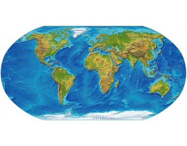 Digital vector World relief Map, Robinson Projection in strong colours, UK-centric, Political fills included